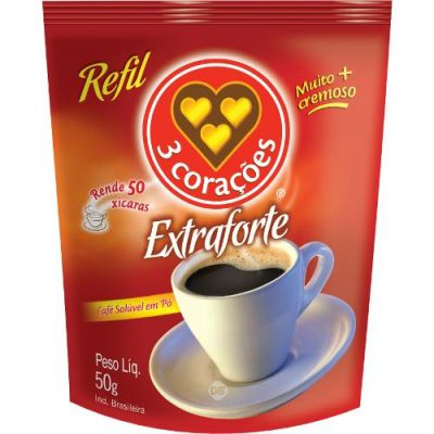 Cafe 3 Coracoes Extra Forte Refil 50 Gr